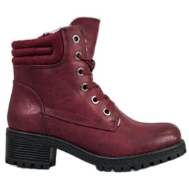 Goodin Lace-up boots with sheepskin red
