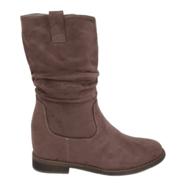 Boots on a hidden wedge beige and gray 9475 Khaki