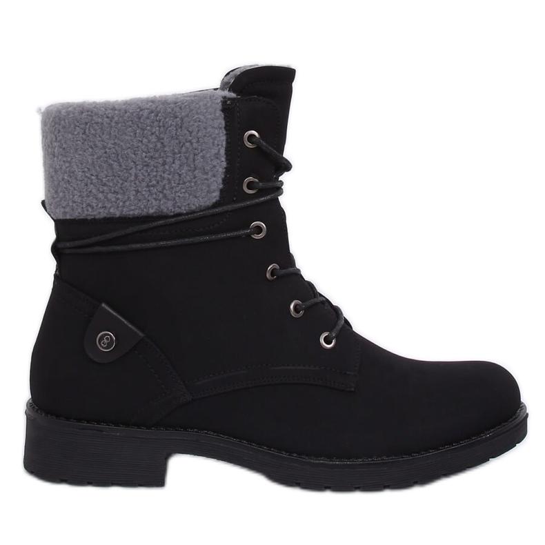 Black lace-up boots K-9926 Black