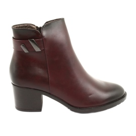 Insulated boots with zipper Daszyński SA153 burgundy