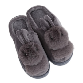 Women's slippers gray rabbit MA01 Gray grey
