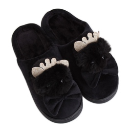 Black women's slippers DD112 Black