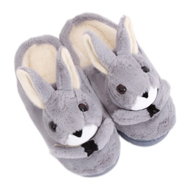 Gray Slippers bunnies MA17 Gray grey