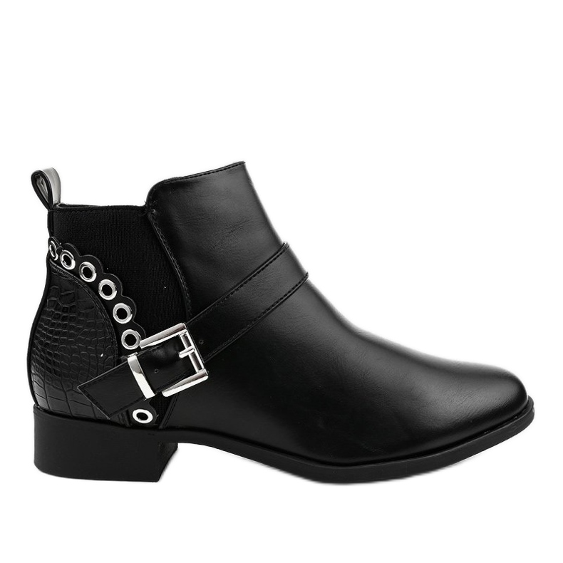 Black flat ankle boots with an elastic band and a Y8159 zipper
