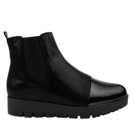 Black flat boots with an elastic band KLS-83-1