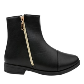 Women's black flat boots CH-7