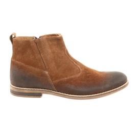 Suede heel with zip Riko 859 camel