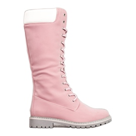 Seastar Warm Lace-up boots pink