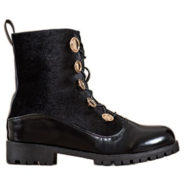 Seastar Velor Ankle Boots With a drawstring black