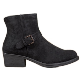 J. Star Suede Booties With Buckle black