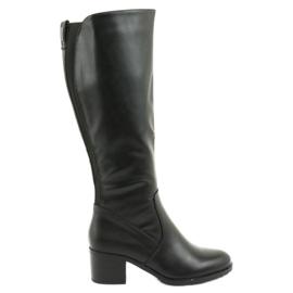 Insulated boots on high heels Daszyński 153 black