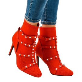 Red boots on a fabric pin AT-0655-L