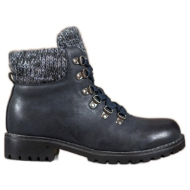 SHELOVET Navy Blue Lace-up ankle boots