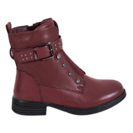 J. Star Burgundy Boots With Elastic Band red
