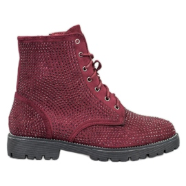 Sweet Shoes Burgundy Suede Booties red