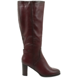 VINCEZA Eco Leather Boots red