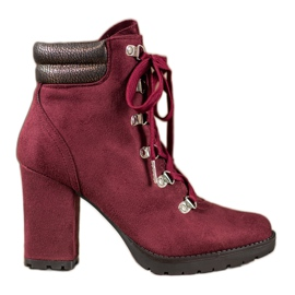 Sweet Shoes Lace-up Booties On A Bar red