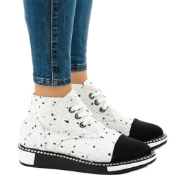 White lace-up boots TS1811