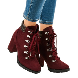 Burgundy suede ankle boots on a 8992 post red
