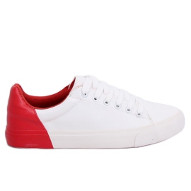 White and red women's sneakers A88-29 W-RED II Type