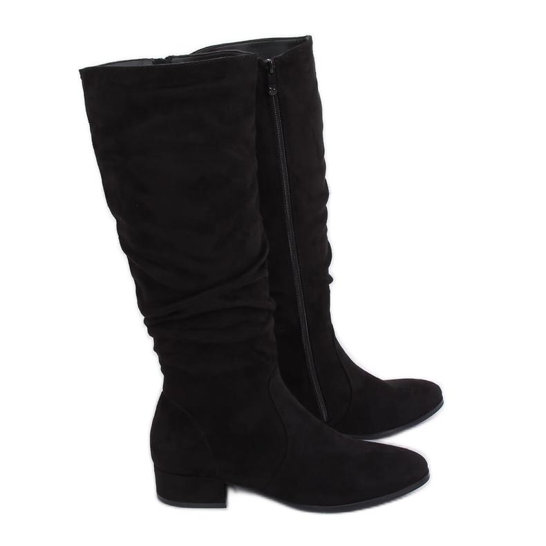 Black Black suede women's boots 3005 Black