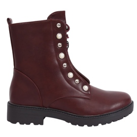 Boots lace-up burgundy BH123-KB Wine red