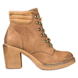 Queen Vivi Lace-up boots made of eco leather brown