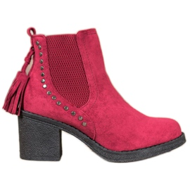 Small Swan Jodhpur boots with tassels red