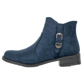 Small Swan Navy Blue Suede Boots