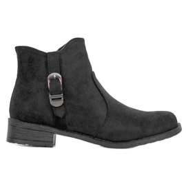 Small Swan Black Suede Boots