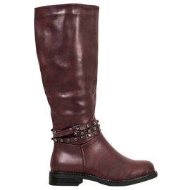 SHELOVET Burgundy Boots With Cubic Zirconia red