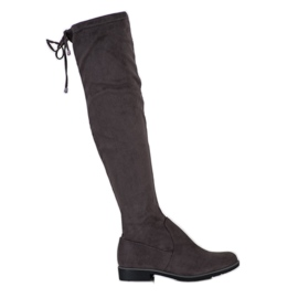 J. Star Suede Thigh-high boots grey