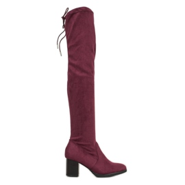 SHELOVET Suede Boots Over Knee red