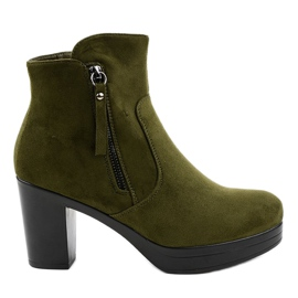 Green suede 8B882 high heels