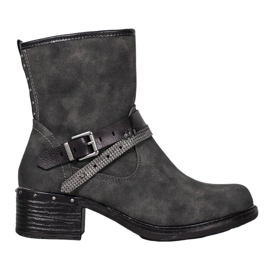 SHELOVET High Boots With a Buckle grey
