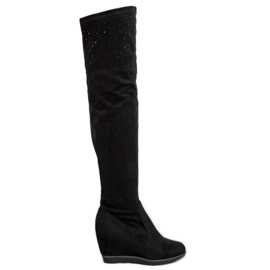 SHELOVET Wedge Boots With Crystals black