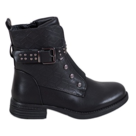 J. Star Black Ankle Boots With Elastic Band