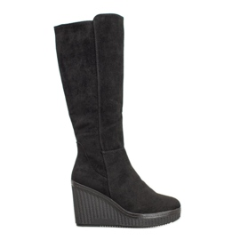 Filippo Black Wedge Boots