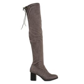 SHELOVET Suede Boots Over Knee grey