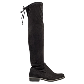 J. Star Suede Thigh-high boots black