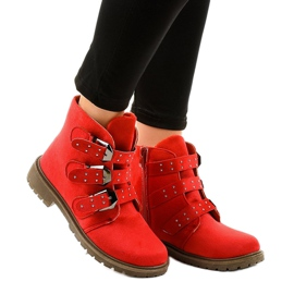 Red suede flat boots with TL95-4 buckles
