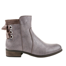 Khaki flat boots with fur 1184-PA