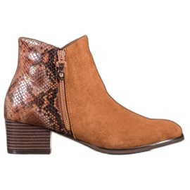 Kylie Camel Boots Snake Print brown