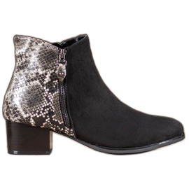 Kylie Black Boots Snake Print