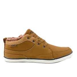 Brown insulated men's sneakers 14M476