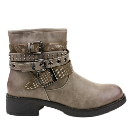 Khaki flat-heeled boots with a 7365-PA buckle