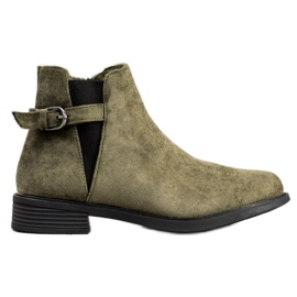 Ideal Shoes Suede Boots green