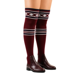 Thigh-high boots maroon sock 29-7 red