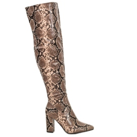Seastar Boots Over the Knee Snake Print green
