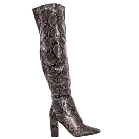 Seastar Boots Over the Knee Snake Print